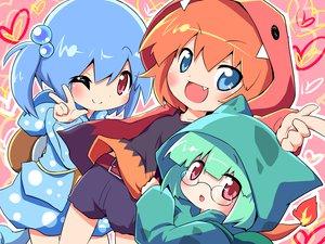 Rating: Safe Score: 66 Tags: blue_eyes blue_hair glasses green_hair moemon orange_hair pokemon ponytail red_eyes short_hair shorts User: Brynhild