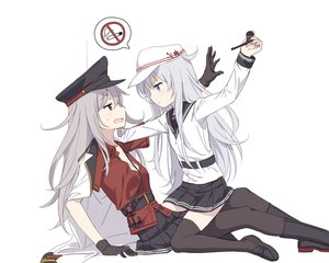 Rating: Safe Score: 72 Tags: 2girls aliasing anthropomorphism blue_eyes cnm gangut_(kancolle) gloves gray_hair hat hibiki_(kancolle) kantai_collection long_hair oktyabrskaya_revolyutsiya orange_eyes pantyhose seifuku shirt skirt thighhighs verniy_(kancolle) white zettai_ryouiki User: Xirois