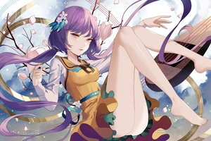 Rating: Safe Score: 51 Tags: cherry_blossoms dress flowers instrument long_hair maiwetea music petals purple_eyes purple_hair touhou tsukumo_benben twintails User: ssagwp