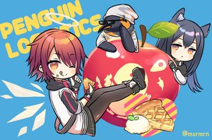 Rating: Safe Score: 30 Tags: angel animal animal_ears apple arknights black_hair blue boots exusiai_(arknights) food fruit gloves halo hat ice_cream long_hair marshmallow_mille orange_eyes pantyhose penguin red_hair short_hair sunglasses texas_(arknights) the_emperor_(arknights) waifu2x watermark wink User: otaku_emmy