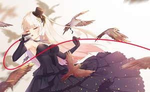 Rating: Safe Score: 48 Tags: animal bird blonde_hair breasts choker cleavage dress elbow_gloves gloves hat long_hair microphone necklace original poke_(610366737) User: sadodere-chan