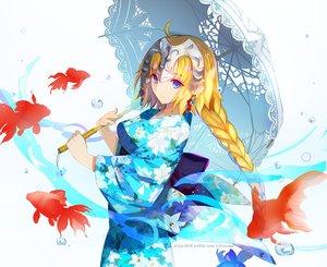 Rating: Safe Score: 73 Tags: animal aqua_eyes blonde_hair braids fate/grand_order fate_(series) fish headdress japanese_clothes kimono long_hair ponytail ruler_(fate/apocrypha) umbrella water watermark weed User: otaku_emmy