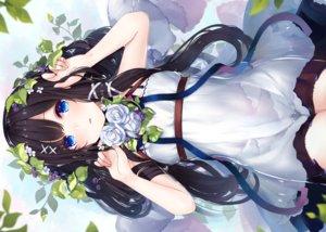 Rating: Safe Score: 95 Tags: ao_no_neko aqua_eyes black_hair dress flowers leaves long_hair original ribbons summer_dress water User: BattlequeenYume
