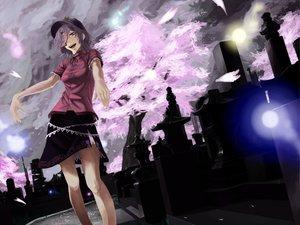 Rating: Safe Score: 73 Tags: akaikitsune cherry_blossoms flowers hat miyako_yoshika purple_hair skirt touhou User: opai