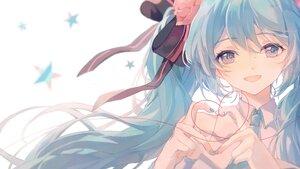 Rating: Safe Score: 49 Tags: aqua_eyes aqua_hair bow close flowers hatsune_miku heart long_hair polychromatic tagme_(artist) twintails vocaloid User: Maboroshi