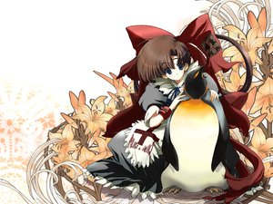 Rating: Safe Score: 15 Tags: animal asagiri_kazusa bird blue_eyes brown_hair flowers jpeg_artifacts maid moekan moekko_company penguin ribbons tagme_(artist) User: 秀悟