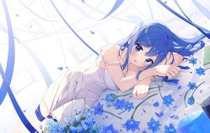Rating: Safe Score: 103 Tags: blue_eyes blue_hair blush dress flowers jpeg_artifacts keis_(locrian1357) long_hair original ribbons summer_dress User: BattlequeenYume