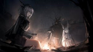 Rating: Safe Score: 55 Tags: animal_ears arknights bunny_ears fire frostnova_(arknights) game_cg gray_eyes gray_hair horns long_hair male night patriot_(arknights) tagme_(artist) talulah_(arknights) User: Nepcoheart