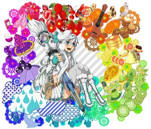 Rating: Safe Score: 50 Tags: apple blue_eyes boots cherry clouds flowers food fruit hat instrument ipod katagiri_hachigou original skirt strawberry umbrella white_hair User: PAIIS