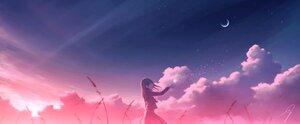Rating: Safe Score: 60 Tags: clouds flowers kijineko moon original polychromatic scenic school_uniform skirt sky stars sunset User: mattiasc02