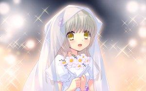 Rating: Safe Score: 72 Tags: flowers flyable_heart game_cg itou_noiji wedding_attire yellow_eyes yukishiro_suzuno User: Wiresetc