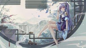 Rating: Safe Score: 86 Tags: butterfly genshin_impact gloves keqing_(genshin_impact) long_hair pink_eyes purple_hair twintails yelan_xing_xuan User: BattlequeenYume