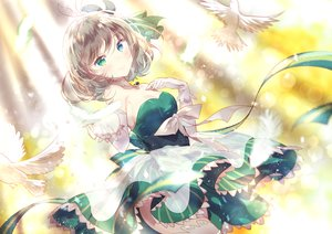 Rating: Safe Score: 58 Tags: animal bird bow breasts choker cleavage domotolain dress elbow_gloves idolmaster_cinderella_girls short_hair takagaki_kaede User: Flandre93