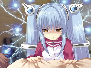 Rating: Safe Score: 49 Tags: flyable_heart game_cg itou_noiji katsuragi_syo kujou_kururi loli twintails yellow_eyes User: Xtea