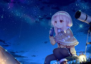 Rating: Safe Score: 68 Tags: boots brown_eyes cape clouds fate/grand_order fate_(series) grass illyasviel_von_einzbern loli pantyhose pink_hair sky stars taku_michi User: RyuZU