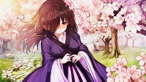 Rating: Safe Score: 64 Tags: blush brown_eyes brown_hair cherry_blossoms flowers game_cg grass japanese_clothes long_hair mirror_(game) petals tagme_(artist) tree zombie_caiyun User: Demuwu