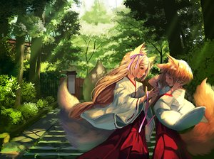 Rating: Safe Score: 56 Tags: 2girls animal_ears blonde_hair bow brown_eyes forest foxgirl japanese_clothes long_hair miko multiple_tails original ribbons short_hair stairs tail tamarashi tree User: BattlequeenYume