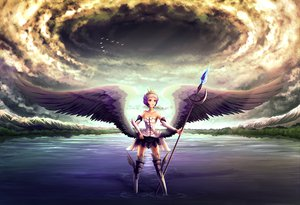 Rating: Safe Score: 70 Tags: clouds gwendolyn minusion odin_sphere sky water weapon wings User: Tensa