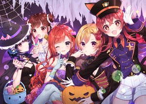 Rating: Safe Score: 44 Tags: animal_ears arisugawa_natsuha black_eyes black_hair brown_hair candy cape catgirl dress elbow_gloves gloves group halloween hat idolmaster_shiny_colors komiya_kaho lollipop morino_rinze pantyhose pumpkin purple_eyes red_eyes red_hair saijou_juri short_hair shorts sonoda_chiyoko tail twintails uniform usano wink witch_hat wristwear User: RyuZU