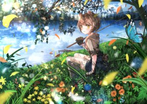 Rating: Safe Score: 36 Tags: animal_ears blush butterfly clouds flowers grass original short_hair shorts sky stockings tail tree umi_no_mizu water yellow_eyes User: BattlequeenYume