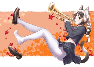 Rating: Safe Score: 36 Tags: animal_ears autumn blush braids catgirl instrument leaves long_hair mozu_(pixiv8754) navel orange_eyes original pantyhose ponytail school_uniform tail User: BattlequeenYume