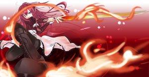 Rating: Safe Score: 66 Tags: 11_eyes boots dress fire kusakabe_misuzu long_hair purple_eyes red_hair sword weapon User: korokun