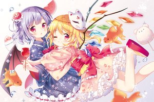 Rating: Safe Score: 67 Tags: 2girls animal apple blonde_hair blue_hair bow candy fish flandre_scarlet food fruit japanese_clothes loli lolita_fashion mask mimi_(mimi_puru) pointed_ears red_eyes remilia_scarlet short_hair touhou vampire waifu2x watermelon wings wink yukata User: otaku_emmy