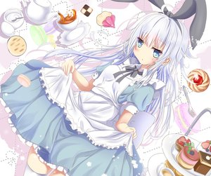 Rating: Safe Score: 42 Tags: aliasing alice_in_wonderland anthropomorphism apron aqua_eyes aruka_(alka_p1) cake cosplay dress drink food headband hibiki_(kancolle) kantai_collection long_hair skirt_lift thighhighs verniy_(kancolle) white_hair User: luckyluna