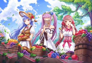 Rating: Safe Score: 73 Tags: aliasing apple blue_hair bow braids clouds dress flowers food fruit hat headdress houchi_shoujo lolita_fashion long_hair lunacle pink_eyes pumpkin purple_hair rose sky tagme_(character) tree twintails User: BattlequeenYume