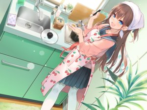 Rating: Safe Score: 113 Tags: aihara_shouta apron blue_eyes blush brown_hair food long_hair original pantyhose seifuku skirt User: FormX