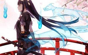 Rating: Safe Score: 243 Tags: animal black_hair fox katana kimura_(ykimu) long_hair original seifuku skirt sword weapon User: Flandre93