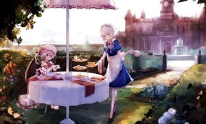 Rating: Safe Score: 39 Tags: 2girls building cake drink dyolf food izayoi_sakuya maid remilia_scarlet short_hair touhou umbrella vampire User: BattlequeenYume
