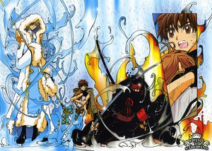 Rating: Safe Score: 14 Tags: black_hair blonde_hair blue_eyes bow brown_eyes brown_hair clamp fay_d_flourite group kurogane mask moon rain sakura_(tsubasa) short_hair staff sword syaoran tsubasa_reservoir_chronicle water weapon User: Oyashiro-sama