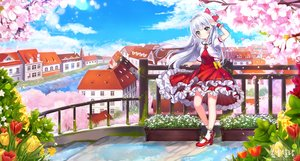 Rating: Safe Score: 21 Tags: bow building cherry_blossoms city clouds dress flowers gray_eyes lolita_fashion long_hair original pass35 petals reflection scenic sky socks stairs water white_hair wristwear User: RyuZU
