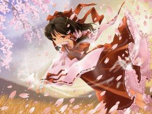 Rating: Safe Score: 24 Tags: brown_eyes brown_hair cherry_blossoms flowers hakurei_reimu japanese_clothes long_hair miko petals ribbons touhou User: Oyashiro-sama