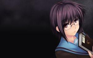 Rating: Safe Score: 57 Tags: black book brown_eyes glasses nagato_yuki suzumiya_haruhi_no_yuutsu User: ZakuWarrior