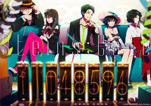 Rating: Safe Score: 118 Tags: akiakane black_hair blue_eyes brown_hair dress glasses green_eyes group hashida_itaru hat long_hair makise_kurisu okabe_rintarou shiina_mayuri short_hair steins;gate suit thighhighs tie urushibara_ruka watermark User: STORM