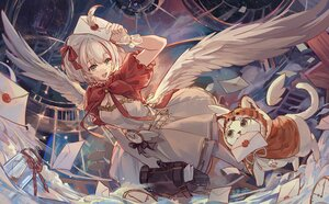 Rating: Safe Score: 58 Tags: animal aozora_kurumi cat csyday dress gray_hair paper short_hair wings User: BattlequeenYume