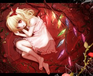 Rating: Safe Score: 53 Tags: barefoot blonde_hair dress flandre_scarlet flowers hoshibuchi loli red_eyes rose touhou wings User: FormX