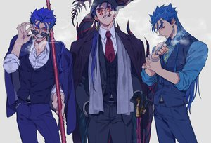 Rating: Safe Score: 6 Tags: all_male blue_hair cigarette cu_chulainn cu_chulainn_alter_(fate/grand_order) fate/grand_order fate_(series) long_hair male ponytail red_eyes shirt smoking spear staff suit sunglasses tatsuta_age tattoo tie weapon User: otaku_emmy
