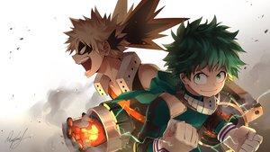 Rating: Safe Score: 5 Tags: all_male bakugou_katsuki blonde_hair boku_no_hero_academia gloves green_eyes green_hair male midoriya_izuku rupinesu short_hair signed User: RyuZU