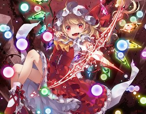 Rating: Safe Score: 61 Tags: blonde_hair bow bow_(weapon) dress flandre_scarlet hat long_hair red_eyes ribbons touhou toutenkou vampire weapon wings User: RyuZU