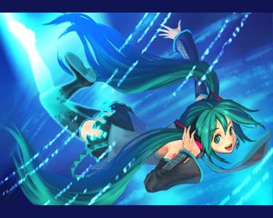 Rating: Safe Score: 33 Tags: green_eyes green_hair hatsune_miku headphones long_hair thighhighs tie twintails vocaloid User: anaraquelk2