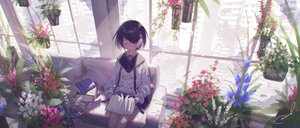 Rating: Safe Score: 40 Tags: black_hair book building city couch flowers original ruins short_hair signed skirt tagme_(artist) User: BattlequeenYume