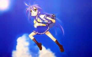 Rating: Safe Score: 56 Tags: blue blue_hair clouds green_eyes izumi_konata jpeg_artifacts kneehighs long_hair lucky_star parody seifuku sky toki_wo_kakeru_shoujo User: Oyashiro-sama