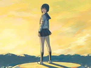 Rating: Safe Score: 10 Tags: blue_hair busou_renkin kneehighs scar school_uniform short_hair sky tsumura_tokiko yellow_eyes User: Oyashiro-sama