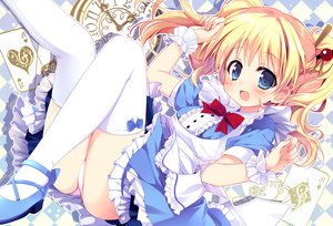 Rating: Safe Score: 76 Tags: alice_cartelet alice_in_wonderland apron aqua_eyes ass blonde_hair bow dress kiniro_mosaic long_hair nagayama_yuunon panties thighhighs twintails underwear User: RyuZU