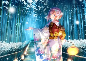 Rating: Safe Score: 45 Tags: anthropomorphism blush brown_hair carnelian forest headband hms_ark_royal_(kancolle) japanese_clothes kantai_collection kimono short_hair snow tree winter User: BattlequeenYume