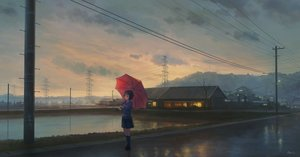 Rating: Safe Score: 46 Tags: black_hair blue_eyes building city clouds feel_(nasitaki) kneehighs landscape original reflection scenic seifuku short_hair signed skirt sky sunset tie umbrella water User: RyuZU