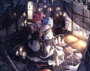 Rating: Safe Score: 58 Tags: 2girls animal_ears aqua_eyes blue_eyes blue_hair blush catgirl headband maid purple_hair ram_(re:zero) rem_(re:zero) re:zero_kara_hajimeru_isekai_seikatsu short_hair tail twins wine_(2148_wine) User: BattlequeenYume